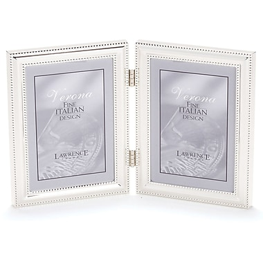 510745D Silver Plated Double Bead 4x5 Hinged Double Picture Frame