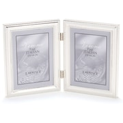 "Lawrence Frames Verona Collection 4"" x 5"" Metal Silver Hinged Double Picture Frame (510745D)"