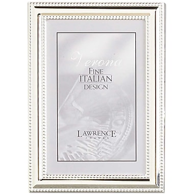 5x7 Metal Picture Frame Silver-Plate with Delicate Beading