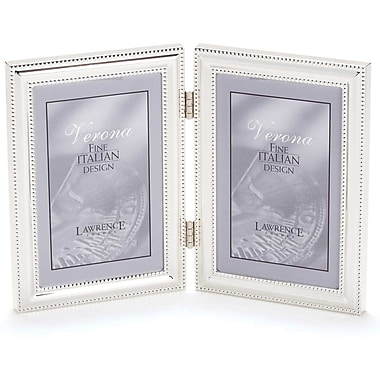 5x7 hinged double vertical metal picture frame silver plate with delicate beading