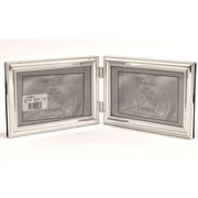 4x6 Hinged Double (Horizontal) Metal Picture Frame Silver-Plate with Delicate Beading