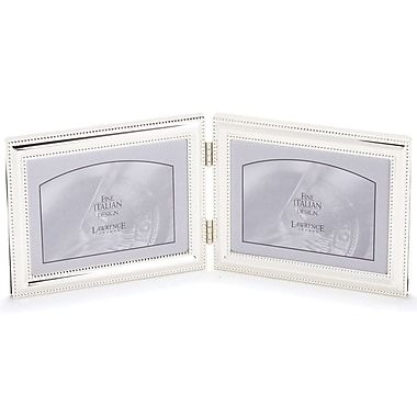 510775D Silver Double Bead 7x5 Hinged Double Picture Frame