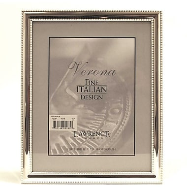 8x10 Metal Picture Frame Silver-Plate with Delicate Beading