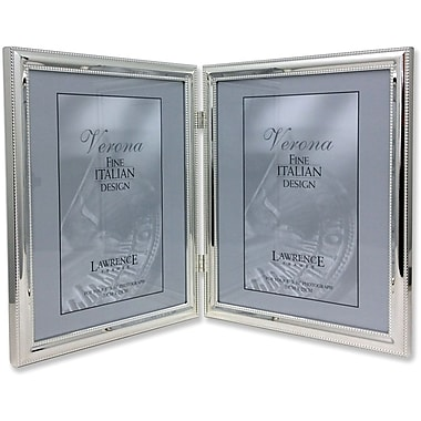 510780D Silver Plated Double Bead 8x10 Hinged Double Picture Frame