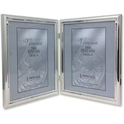 "Lawrence Frames Verona Collection 8"" x 10"" Metal Silver Hinged Double Picture Frame (510780D)"