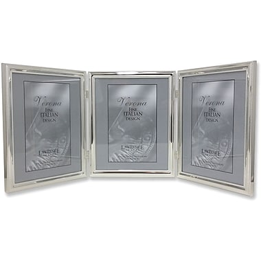 510780T Silver Plated Double Bead 8x10 Hinged Triple Picture Frame
