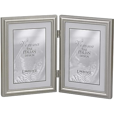 4x6 Hinged Double (Vertical) Metal Picture Frame Pewter Finish with Delicate Beading