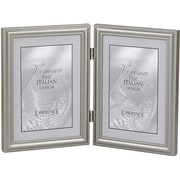"Lawrence Frames Verona Collection 4"" x 6"" Metal Pewter Hinged Double Picture Frame (510946D)"