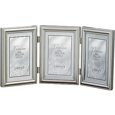 4x6 Hinged Triple (Vertical) Metal Picture Frame Pewter Finish with Delicate Beading