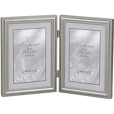 5x7 Hinged Double (Vertical) Metal Picture Frame Pewter Finish with Delicate Beading