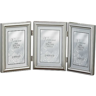 5x7 Hinged Triple (Vertical) Metal Picture Frame Pewter Finish with Delicate Beading