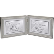 4x6 Hinged Double (Horizontal) Metal Picture Frame Pewter Finish with Delicate Beading