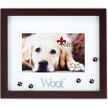 Walnut Wood 4x6 Woof Picture Frame - Matted Shadow Box Dog Frame