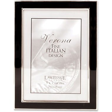 Silver Plated 5x7 Metal with Black Enamel Picture Frame