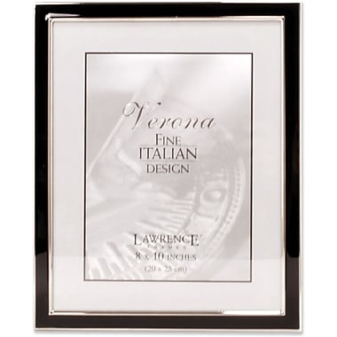 Silver Plated 8x10 Metal with Black Enamel Picture Frame