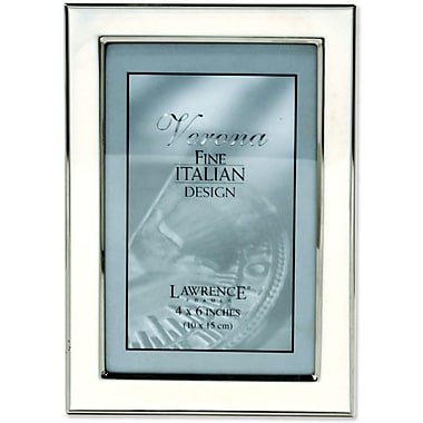 Silver Plated 4x6 Metal with White Enamel Picture Frame