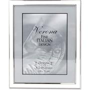 Silver Plated 8x10 Metal with White Enamel Picture Frame
