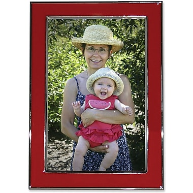 Silver Plated 5x7 Metal with Red Enamel Picture Frame