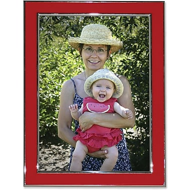 Silver Plated 8x10 Metal with Red Enamel Picture Frame
