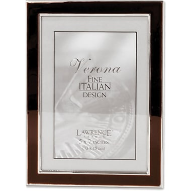 Silver Plated 5x7 Metal with Brown Enamel Picture Frame
