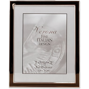 Silver Plated 8x10 Metal with Brown Enamel Picture Frame