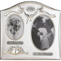 Satin Silver & Brass Plated 2 Opening Picture Frame - 25th Anniversary Design