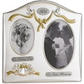 Satin Silver & Brass Plated 2 Opening Picture Frame - 50th Anniversary Design