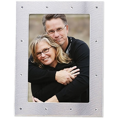 Brushed Silver 4in. x 6in.  Metal Picture Frame Decorated with Crystals