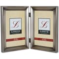 Brushed Pewter 4x6 Hinged Double Metal Picture Frame