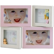 4x6 and 4x4 Multi Opening Pink Leatherette Picture Frame