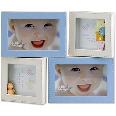 4x6 and 4x4 Multi Opening Blue Leatherette Picture Frame
