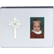 4x6 Satin Silver Metal Album - Ivory and Crystal Cross
