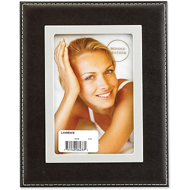 Black Leather 5x7 Picture Frame - Silver Metal Inner Bezel