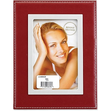 Red Leather 4x6 Picture Frame - Silver Metal Inner Bezel