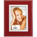 Red Leather 5x7 Picture Frame - Silver Metal Inner Bezel