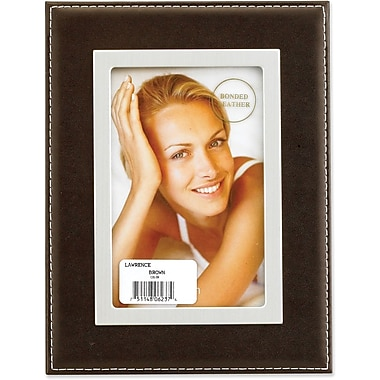 Dark Brown Leather 4x6 Picture Frame - Silver Metal Inner Bezel