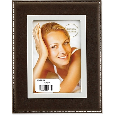 Dark Brown Leather 5x7 Picture Frame - Silver Metal Inner Bezel