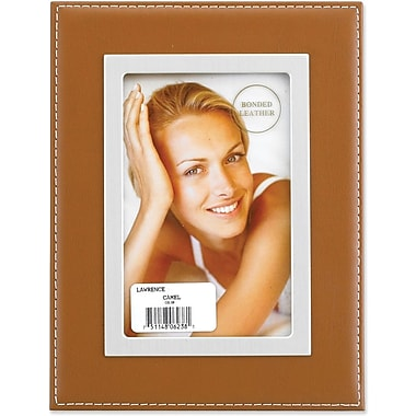 Camel Leather 4x6 Picture Frame - Silver Metal Inner Bezel