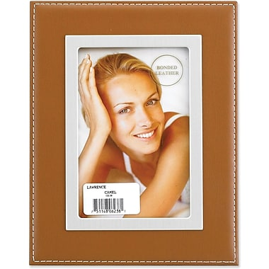 Camel Leather 5x7 Picture Frame - Silver Metal Inner Bezel
