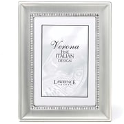 "Lawrence Frames Verona Collection 4"" x 6"" Brushed Silver Beaded Picture Frame (720246)"