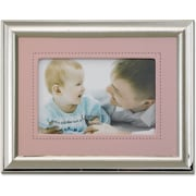 Silver Plated 4x6 Metal Picture Frame - Pink Faux Leather Mat