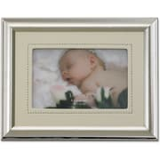 Silver Plated 4x6 Metal Picture Frame - Ivory Faux Leather Mat