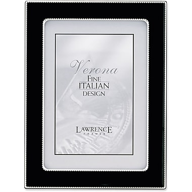 Silver Metal 5x7 with Black Enamel Picture Frame - Bead Border