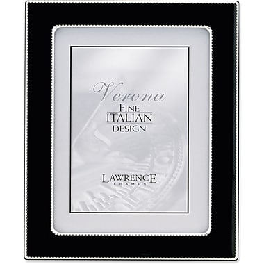 Silver Metal 8x10 with Black Enamel Picture Frame - Bead Border