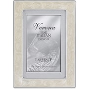 Silver Metal 4x6 With Pearl Enamel Picture Frame - Bead Border