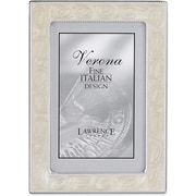 5x7 Silver Metal Picture Frame with Pearl Enamel and Bead Border