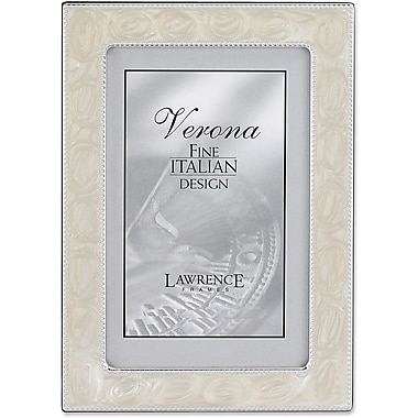 8x10 Silver Metal Picture Frame with Pearl Enamel and Bead Border