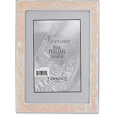 Silver Metal 4x6 with Swirled Pink Enamel Picture Frame - Bead Border