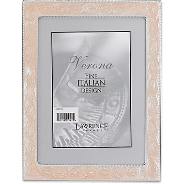 Silver Metal 5x7 with Swirled Pink Enamel Picture Frame - Bead Border
