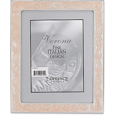 Silver Metal 8x10 with Swirled Pink Enamel Picture Frame - Bead Border